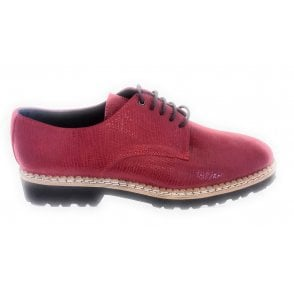 Red Nubuck Print Lace-Up Casual Shoe