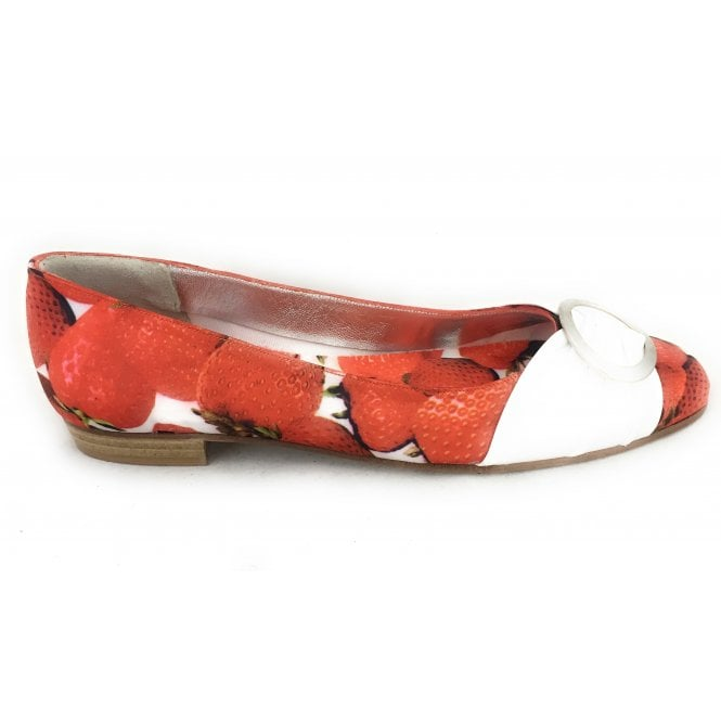HB Red Strawberry Print Satin Pump