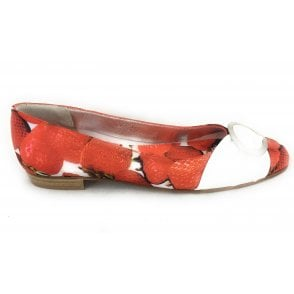 Red Strawberry Print Satin Pump
