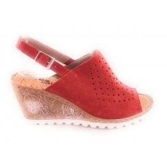 Red Suede Wedge Sandal