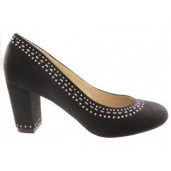 Refine Black Microfibre Block Heel Court Shoe