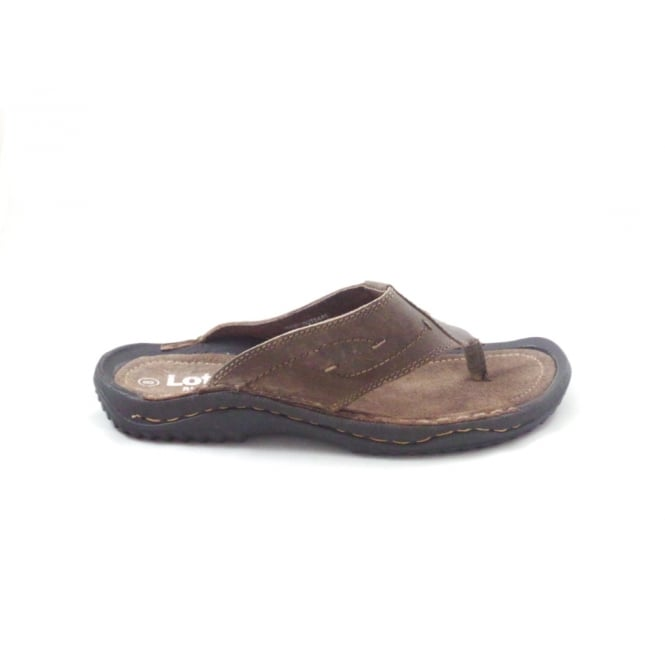 Lotus Reggie Brown Leather Toe-Post Sandal