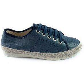 Regina Navy Shimmer Lace-Up Espadrille Shoe