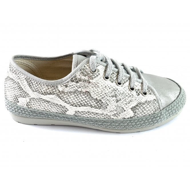Lotus Regina White and Grey Snakeprint Espadrille