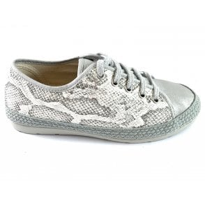 Regina White and Grey Snakeprint Espadrille