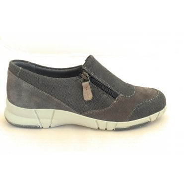 Rilla Grey Print and Suede Comfort Shoes