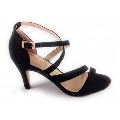 Rimes Black Shimmer Open-Toe Sandal