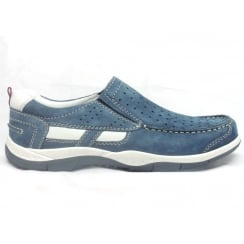 5827 Livorno Denim Blue Nubuck Slip-On Casual Shoe