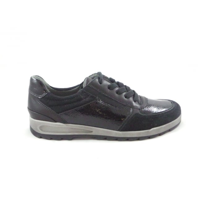 Ara Rom-Sport 12-44629 Black Patent and Nubuck Lace-Up Trainer