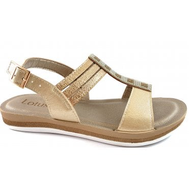Rome Gold Strappy Sandal