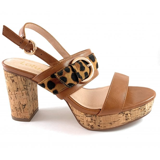 Lotus Romilly Tan and Leopard Print Heeled Sandal