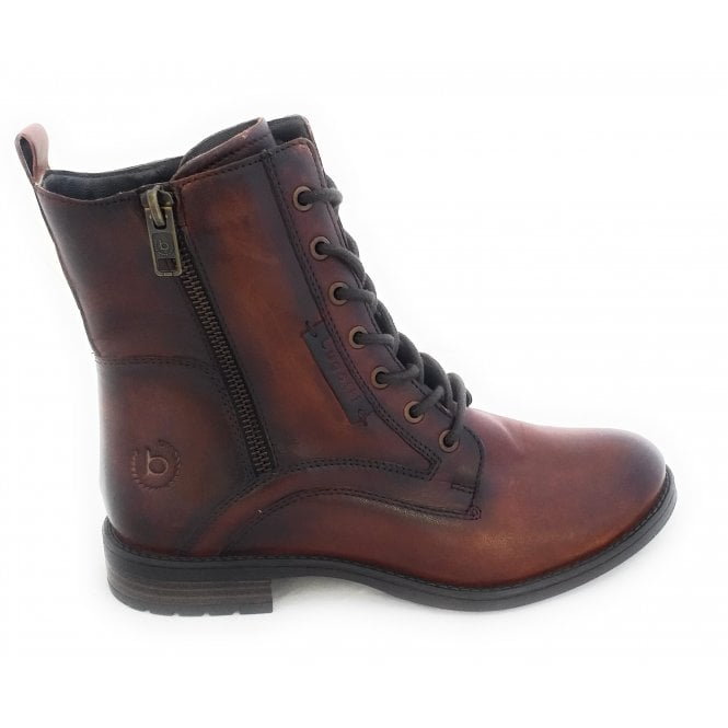 Bugatti Ronja Dark Brown Leather Lace-Up Ankle Boot