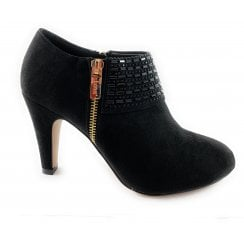 Ronna Black Microfibre Shoe Boot
