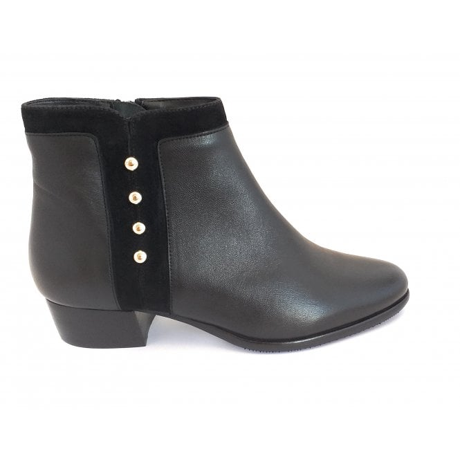 Lotus Rosa Black Leather and Suede Ankle Boot
