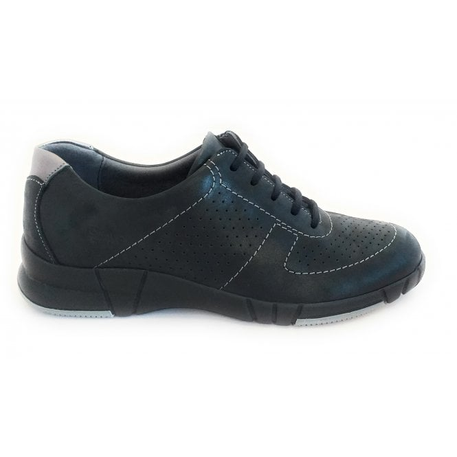 Suave Rosa Black Leather Lace-Up Casual Shoe