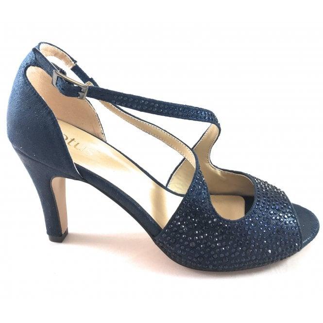 Lotus Rosa Navy Diamante Peep-Toe Shoe