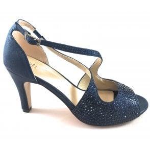 Rosa Navy Diamante Peep-Toe Shoe