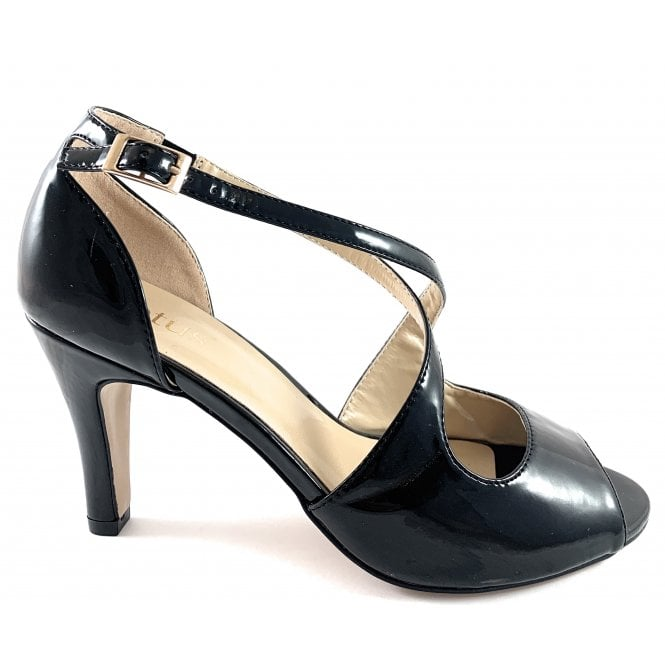 Lotus Rosalie Black Patent Peep-Toe Shoe