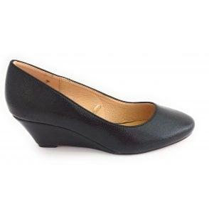 Rose Black Crinkle Patent Wedge Shoe