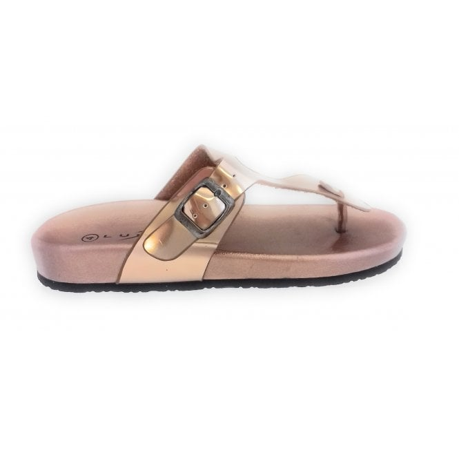 Lunar Rose Gold Metallic Toe-Post Mule