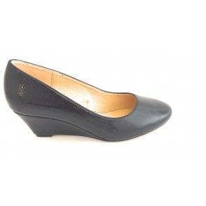 Rose Navy Crinkle Patent Wedge Shoe
