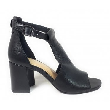Rosella 411-88280-4000 Black Leather Heeled Sandals