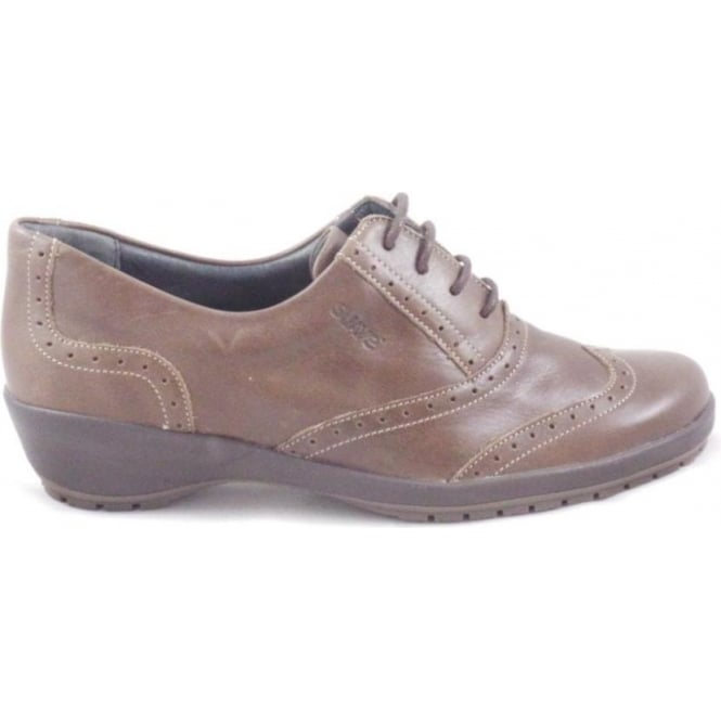 Suave Ruby Brown Leather Lace-Up Brogue Shoe Size 4