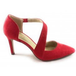 Ruthie Red Microfibre Court Shoe