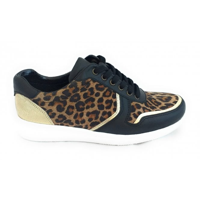 Lotus Sabina Black Leather and Leopard Print Lace-up Trainer