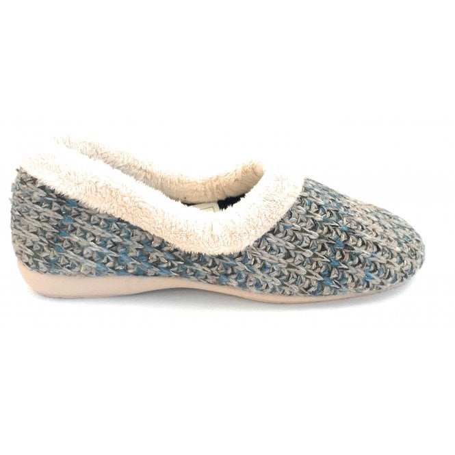 Suave Salon Blue and Taupe Knitted Full Slipper
