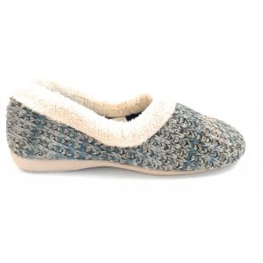 Salon Blue and Taupe Knitted Full Slipper