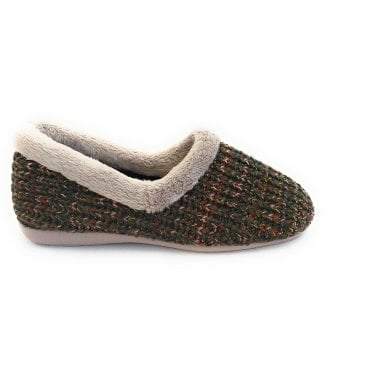 Salon Khaki Green Knitted Full Slipper