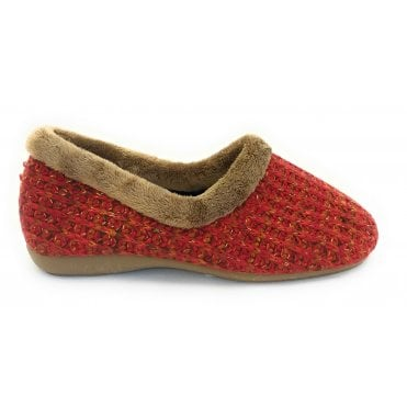 Salon Red Knitted Full Slipper