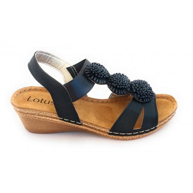 Lotus Saphira Black Open-Toe Sandal