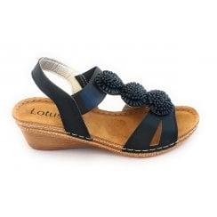 Saphira Black Open-Toe Sandal