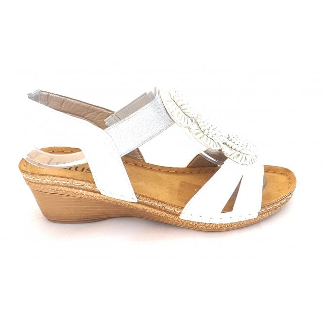 Lotus Saphira White Open-Toe Sandal