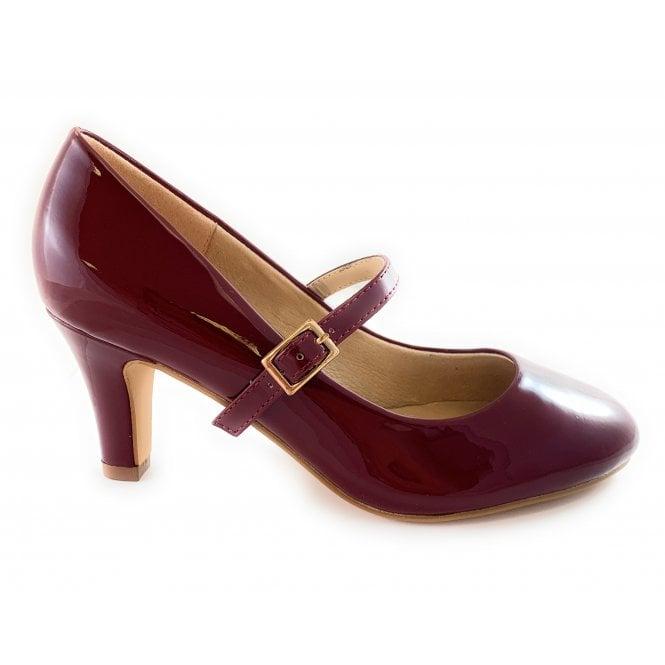Lotus Savannah Dark Red Patent Court Shoe