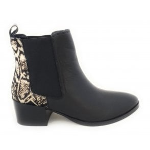 Saxman Black Leather and Snake Print Ankle Boots