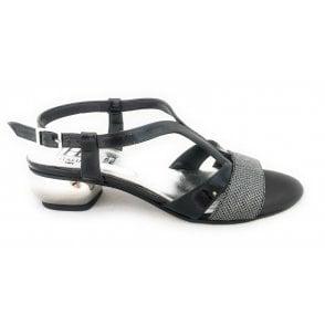 Scozia Black Patent and Silver Sandal