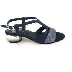 Scozia Navy Suede and Silver Sandal