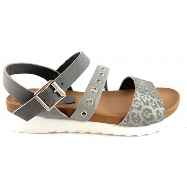 Selina Pewter Open-Toe Sandal