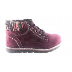 Sequoia Burgundy Microfibre Lace-Up Casual Boot