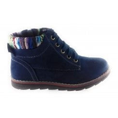 Sequoia Navy Microfibre Lace-Up Casual Boot