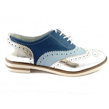 Serena F741 Blue and Silver Lace-Up Ladies Brogue