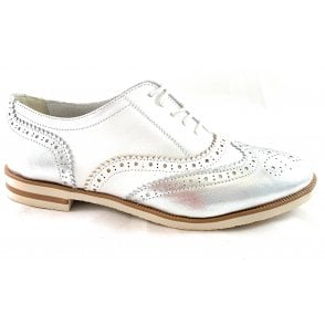 Serena F741 White and Silver Lace-Up Ladies Brogue