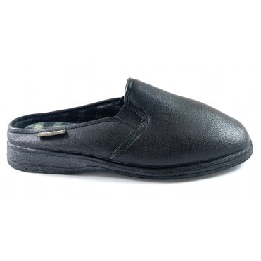 Severn Black Faux Leather Mens Slippers