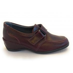 Shannon Burgundy Reptile Print Leather Casual Shoes