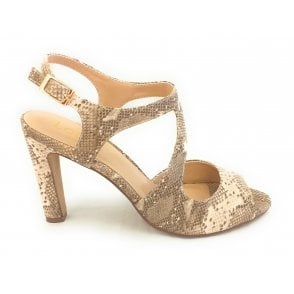 Shannon Natural Snakeprint Heeled Sandal
