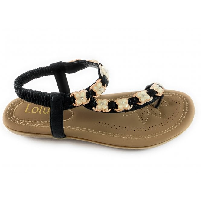 Lotus Shelby Black and Gold Toe-Post Sandal