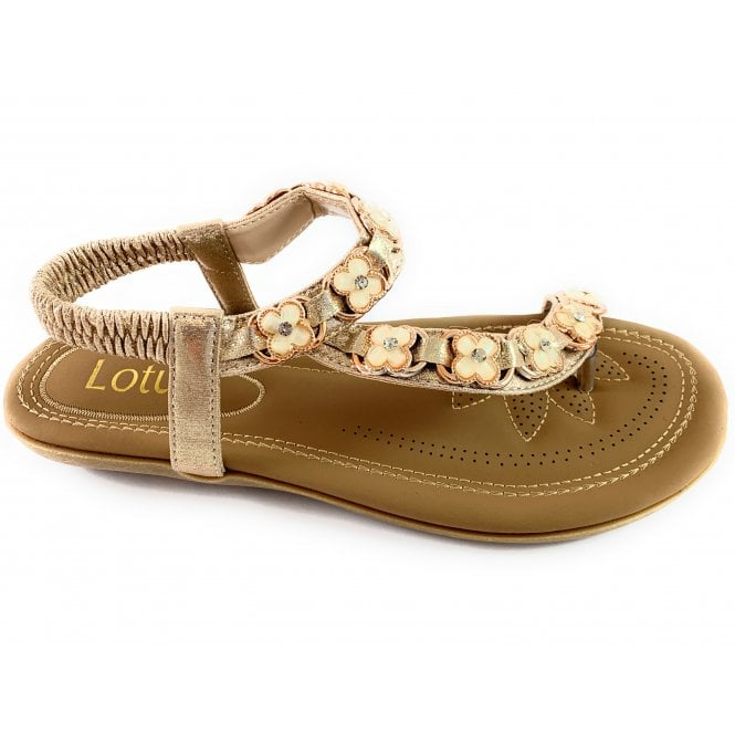 Lotus Shelby Gold Toe-Post Sandal